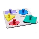 DND Mainan Edukatif Balok Kayu Puzzle Geo Baby Knop 4 Bentuk - Wooden Toy