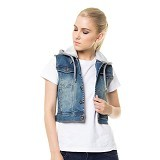 DOCDENIM Ladies Vest Aryssa Light Hoodie Fit Size S - Light Blue (Merchant) - Vest Wanita