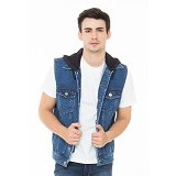 DOCDENIM Men Vest Cisco Hoodie Slim Comfort Fit Size L - Blue (Merchant) - Vest Pria