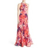ELIZA J Floral Print Halter Maxi Dress Regular Size M - Pink Coral Purple (Merchant)