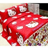 ELLENOV SPREI BAHAN KATUN Kitty Leopard Extra Single Size - Red - Seprai & Handuk
