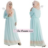 EMMAQUEEN Dress Ice Cream Size M - Milky Mint - Gamis Wanita