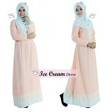EMMAQUEEN Dress Ice Cream Size M - Milky Peach - Gamis Wanita