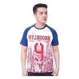 F&P T Shirt Brooklyn Raglan Size XL [007-TS.005] - Blue Red - Kaos Pria