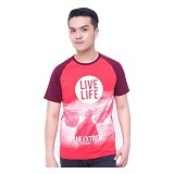 F&P T Shirt Raglan Live Life Size M [007-TS.007] - Red Maroon - Kaos Pria