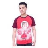 F&P T Shirt Raglan Live Life Size XL [007-TS.007] - Red Maroon - Kaos Pria