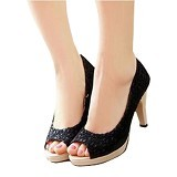 FABIAN ZIAH SHOP Highheels Brukat Size 38 - Black Nancy - Heels Wanita