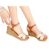 FABIAN ZIAH SHOP Wedges Size 39 [FH 24] - Cream - Wedges Wanita