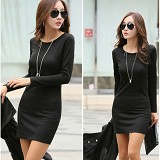 FAMOUS KOREA Bodycon Simply Dress - Black - Mini Dress Wanita