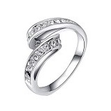 FASHION STREET Exclusive Imports Cincin Wedding 9K Gold Plated Crystal Rhinestone [641918] - Silver - Cincin