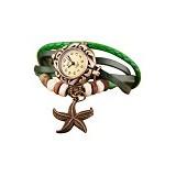 FASHION STREET Exclusive Imports  Green Faux Leather Bracelet Starfish Decor Wrist Watch [636850] - Jam Tangan Wanita Fashion