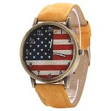 FASHION STREET Exclusive Imports Jam Tangan Strap Denim United States Flag [639923] - Yellow - Jam Tangan Wanita Fashion