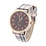 FASHION STREET Exclusive Imports Jam Tangan Wanita Starp Leather [640781] - Plaid Coffee - Jam Tangan Wanita Casual