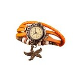 FASHION STREET Exclusive Imports Orange Faux Leather Bracelet Starfish Decor Wrist Watch [636852] - Jam Tangan Wanita Fashion