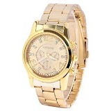 FASHION STREET Exclusive Imports Rhinestone Stainless Steel Band Wrist Watch [639752] - Gold - Jam Tangan Pria Mewah