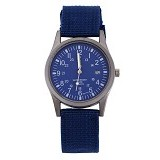 FASHION STREET Exclusive Imports Unisex Calendar Army Blue Knitted Fabric Strap Watch [642753] - Jam Tangan Pria Fashion