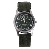 FASHION STREET Exclusive Imports Unisex Calendar Army Green Knitted Fabric Strap Watch [642754] - Jam Tangan Pria Fashion