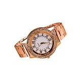 FASHION STREET Exclusive Imports Unisex Rhinestone Roman Numerals Alloy Analog Quartz Watch [642858] - Rose Gold - Jam Tangan Wanita Fashion