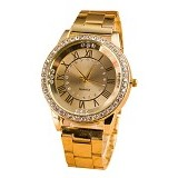 FASHION STREET Exclusive Imports Unisex Rhinestone Roman Numerals Alloy Analog Quartz Watch [642860] - Gold - Jam Tangan Wanita Fashion