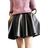 FASHION STREET Women High Waist Short Skater Pleated Flared Umbrella [647067] - Black - Rok Pendek Wanita