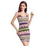 FASHION STREET Women Sexy Vintage Printed Tank Dress Rose [633776] - Red - Mini Dress Wanita