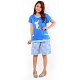 FOREVER Baju Setelan Wanita Body Fit Celana Pendek [P-662] - Blue (Merchant) - Baju Tidur Wanita Setelan