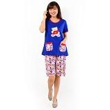 FOREVER Baju Setelan Wanita Body Fit Celana Pendek [P-726] - Blue (Merchant) - Baju Tidur Wanita Setelan