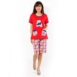 FOREVER Baju Setelan Wanita Body Fit Celana Pendek [P-726] - Red (Merchant) - Baju Tidur Wanita Setelan