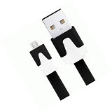 GADGET ONLINE STORE Noodle Style Micro 5 Pin to USB Sync Cable [SSUA08] - Black (Merchant) - Cable / Connector Usb