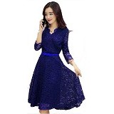 GALLERY FANNY SHOP Dress Shaby - Blue (Merchant) - Midi Dress Wanita