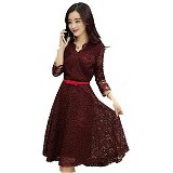 GALLERY FANNY SHOP Dress Shaby - Maroon (Merchant) - Midi Dress Wanita