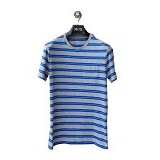 GAP Pocket Tee Double Stripes Size S - Grey Blue (Merchant) - Kaos Pria