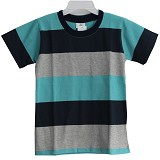 BABY WAREHOUSE GAP Tshirt Stripes Size L - Torquise Dark Blue Gray - Baju Bepergian/Pesta Bayi dan Anak