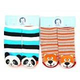 GERBER Rattle Socks Panda and Dog [0-12M] - Kaos Kaki Bayi dan Anak