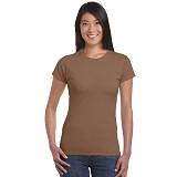 GILDAN Ladies T-Shirt 76000L Premium Cotton Size L - Chesnut (V) - Kaos Wanita