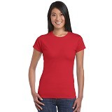 GILDAN Ladies T-Shirt 76000L Premium Cotton Size L - Red (V) - Kaos Wanita