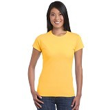 GILDAN Ladies T-Shirt 76000L Premium Cotton Size M - Gold (V) - Kaos Wanita