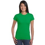 GILDAN Ladies T-Shirt 76000L Premium Cotton Size M - Irish Green (V) - Kaos Wanita
