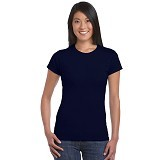 GILDAN Ladies T-Shirt 76000L Premium Cotton Size M - Navy (V) - Kaos Wanita