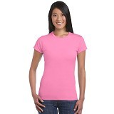 GILDAN Ladies T-Shirt 76000L Premium Cotton Size XL - Azalea (V) - Kaos Wanita