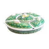 "GOLDEN DRAGON Party Set 14"" - Batik Green - Piring Saji"