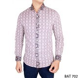 GUDANG FASHION Baju Batik Panjang Slim Fit Size L [BAT 702-XL] - Light Grey