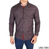 GUDANG FASHION Baju Pria Slim Fit Casual Size L [LNG 1585-L] - Dark Grey - Kemeja Lengan Panjang Pria