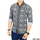 GUDANG FASHION Batik For Male Shirt Size M [BAT 606-M] - Multi Colour - Kemeja Lengan Panjang Pria