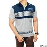 GUDANG FASHION Kaos Kerah Polo Shirt Size XL [FP 451-XL]  - Dark Blue Combination Grey - Polo Pria