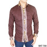 GUDANG FASHION Kemeja Batik Pria Panjang Slim Fit Size M [BAT 700-M] - Dark Brown