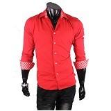 GUDANG FASHION Kemeja Formal Pria Size M [LNG 1095-M] - Merah - Kemeja Lengan Panjang Pria