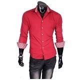 GUDANG FASHION Kemeja Kerja Pria Size L [LNG 1187-L] - Merah - Kemeja Lengan Panjang Pria