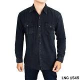 GUDANG FASHION Kemeja Panjang Denim Size XL [LNG 1545-XL] - Black - Kemeja Lengan Panjang Pria