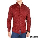 GUDANG FASHION Kemeja Slim Fit Casual Panjang Size XL [LNG 1581-XL] - Red - Kemeja Lengan Panjang Pria